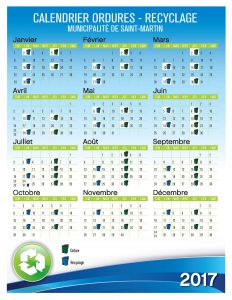 Ordures et recyclage Calendrier 2017