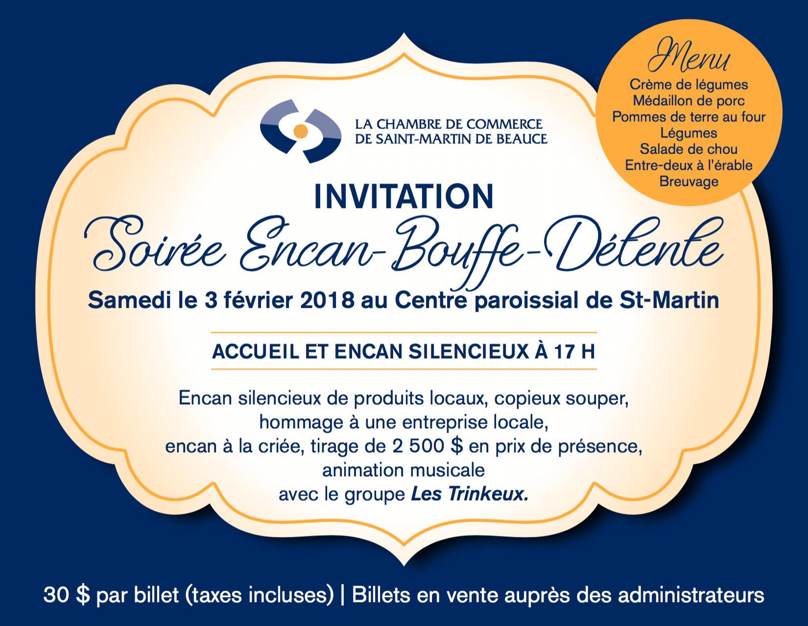 Soirée Encan - La Chambre de Commerce de Saint-Martin de Beauce