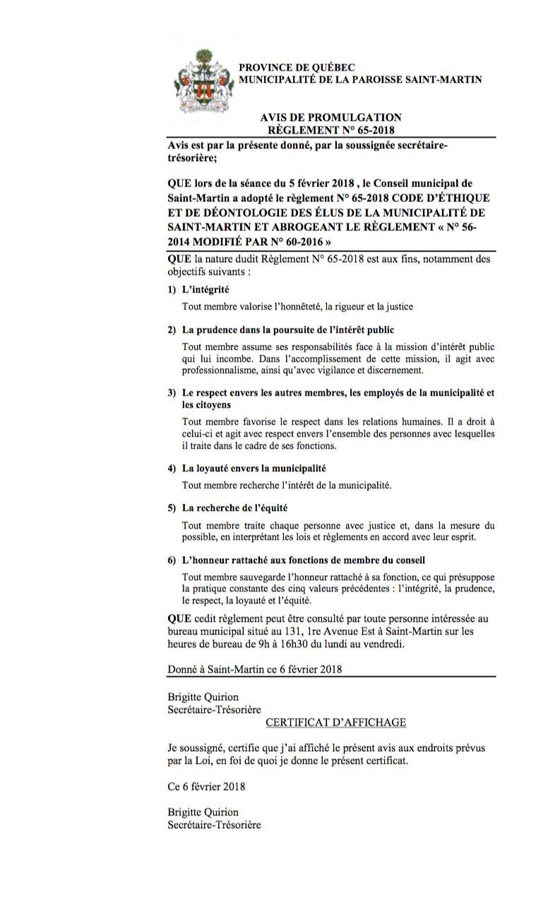 AVIS DE PROMULGATION